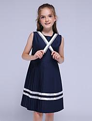 cheap -Kids Little Girls' Dress Striped School Navy Blue Knee-length Sleeveless Basic Dresses Children's Day Summer Slim 3-13 Years