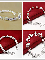cheap -Bracelet 3D Ball Fashion Copper Bracelet Jewelry Silver For Christmas Halloween Party Evening Gift Date / Silver Plated