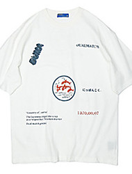 cheap -Men's T shirt Hot Stamping Graphic Prints Letter Print Short Sleeve Casual Tops 100% Cotton Basic Casual Fashion White