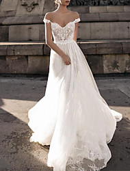 cheap -Mermaid / Trumpet Wedding Dresses V Neck Court Train Lace Tulle Sleeveless Romantic Sexy with Pleats Appliques 2021
