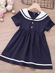 cheap -Kids Toddler Little Girls' Dress Blue & White Blue Solid Colored Ruched Blue Above Knee Short Sleeve Regular Basic Cute Dresses Children's Day Summer Regular Fit 3-8 Years
