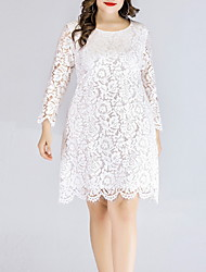 cheap -Women's Plus Size Dresses Shift Dress Knee Length Dress Long Sleeve Solid Color Lace Casual Fall White Red M L XL XXL 3XL