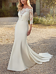 cheap -Two Piece Mermaid / Trumpet Wedding Dresses V Neck Sweep / Brush Train Lace Italy Satin Sleeveless Country Simple with 2021