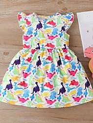 cheap -Kids Little Girls' Dress Fantastic Beasts Animal Print White Rainbow Light Blue Above Knee Sweet Dresses Regular Fit 2-9 Years