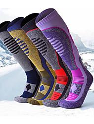 cheap -Womens Ski Socks 2 Pairs Over The Calf Thicken Warm Skiing Socks High Performance Winter Sports Socks Purple M