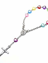 cheap -ab max rosary beads bracelet - colorful heart catholic baptism souvenir crucifix cross pendant virgin mary medal christening wedding shower birthday party funeral gift