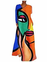 cheap -Women's Shirt Dress Abstract human face (color) Abstract human face (orange) Abstract human face (pink) Abstract human face (purple) Abstract human face (green) Abstract human face (blue) Short Sleeve