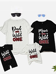 cheap -Family Look Family Matching Outfits Dress Graphic Short Sleeve Print Black Summer