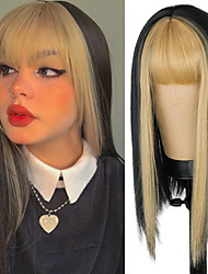 cheap -Synthetic Wig Natural Straight Neat Bang Wig 16 inch A1 A2 A3 A4 Synthetic Hair Women's Cosplay Party Fashion Black
