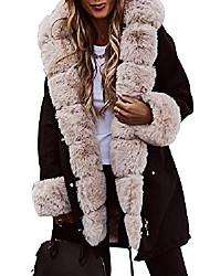cheap -women winter coat hooded warm thicken parka jacket with faux fur (black-beige,medium)