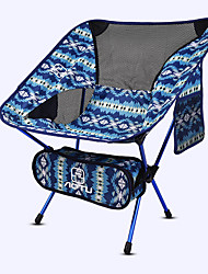 cheap -Camping Chair with Side Pocket Multifunctional Portable Breathable Ultra Light (UL) Aluminum Alloy Oxford for 1 person Fishing Beach Camping Autumn / Fall Winter Blue