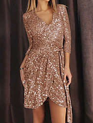 cheap -Sheath / Column Glittering Sexy Party Wear Cocktail Party Dress V Neck Half Sleeve Short / Mini Sequined with Sash / Ribbon Sequin 2021