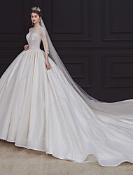 cheap -Princess Ball Gown Wedding Dresses Jewel Neck Chapel Train Lace Tulle Sequined Long Sleeve Formal Romantic Luxurious Sparkle & Shine with Beading Sequin 2021