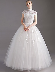 cheap -Princess Ball Gown Wedding Dresses High Neck Floor Length Lace Tulle Short Sleeve Formal Romantic with Appliques 2021