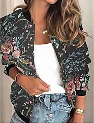 cheap -Women's Plants Print Active Spring &  Fall Jacket Regular Daily Long Sleeve Air Layer Fabric Coat Tops Black