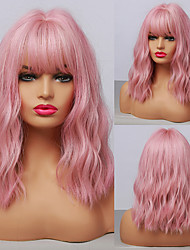 cheap -Synthetic Wig Water Wave Asymmetrical Neat Bang Wig 14 inch Pink+Red Synthetic Hair Women's Cosplay Party Fashion Pink