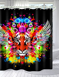 cheap -Black Winged Tiger Head Digital Printing Shower Curtain Shower Curtains  Hooks Modern Polyester New Design