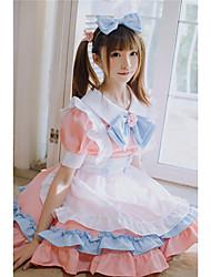 preiswerte -Lolita Schule Lolita nette Art Kleid Dienstmädchenuniform Damen Japanisch Cosplay Kostüme Rosa Volltonfarbe Puffärmel Kurzarm Über dem Knie / Schürze