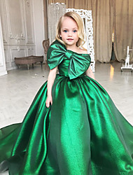 cheap -Princess / Ball Gown Sweep / Brush Train Wedding / Party Flower Girl Dresses - Taffeta Short Sleeve One Shoulder with Bow(s)