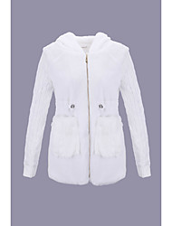 cheap -Women's Solid Colored Active Winter Fur Coat Regular Daily Long Sleeve Others Coat Tops White / Punk & Gothic
