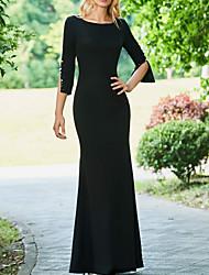 cheap -Sheath / Column Mother of the Bride Dress Elegant Jewel Neck Floor Length Stretch Fabric Half Sleeve with Beading 2021