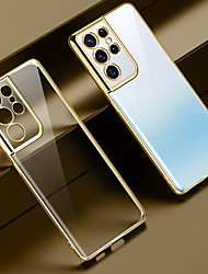 cheap -Luxury Plating Clear Phone Case For Samsung Galaxy S21 S21Plus S21 Ultra Shockproof Back Cover For Samsung Galaxy S20 FE S20 Plus