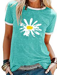 cheap -Women's T shirt Floral Flower Daisy Print Round Neck Basic Tops Black Blue Purple