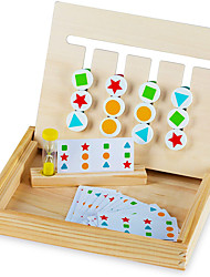 cheap -Play Brainy Four-Color & Shape Puzzle Game Montessori Toy  Fun & Educational 2-Sided Sliding Logic Puzzle for Shape & Color Sorting Early Education STEM Toy for Toddlers  Wooden Slide Puzzle (1 Set)