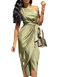 cheap -misomee women fashion one shoulder ruched design party dress l green