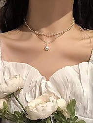 cheap -Women's Pendant Necklace Necklace Double Layered Simple Fashion European Sweet Imitation Pearl Alloy Silver Gold 30-50 cm Necklace Jewelry For Party Evening Street Prom Birthday Party Festival