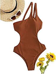 cheap -romwe women's one shoulder cutout one piece swimsuit strap backless bathing suit monokini brown l