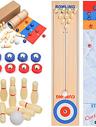 cheap -Shuffleboard Curling Bowling 3 in 1 Set Table Top Game Rollable Board Game Suitable for Indoor and Outdoor Family Entertainment for Kids and Adults