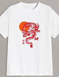 cheap -Men's T shirt Hot Stamping Dragon Graphic Prints Print Short Sleeve Daily Tops 100% Cotton Basic Fashion Classic White