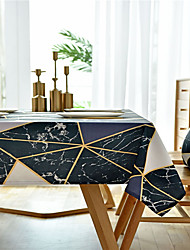 cheap -Table Cloth polyester fibre Dust-Proof European Style Printing Tabel cover Table decorations for Daily Wear rectangule 60*60 cm Black 1 pcs