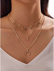 cheap -Women's Necklace Layered Necklace Stacking Stackable Moon Star Simple Fashion European Alloy Gold 36 cm Necklace Jewelry 1pc For Gift Prom Festival