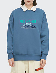 cheap -Women's Pullover Sweatshirt Stone Letter Print Daily Other Prints Basic Hoodies Sweatshirts  White Blue Blushing Pink