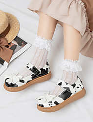 cheap -Girls' Flats Flower Girl Shoes Princess Shoes PU Mary Jane Big Kids(7years +) Daily Party & Evening Bowknot Buckle White Black Pink Spring Summer / Color Block