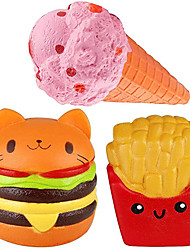 cheap -Pack of 3 Jumbo Slow Rising Squishies Kawaii Cat Hamburger Fries Ice Cream Scented Bread Hand Pillow Decompression Squeeze Toys Decorative Large Props