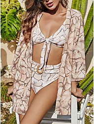 cheap -Women's Bikini Three Piece Swimsuit Print Orange Swimwear Bathing Suits New Casual Sexy