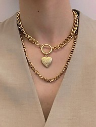 cheap -Women's Pendant Necklace Chain Necklace Fashion Alloy Gold 30-50 cm Necklace Jewelry 1pc For Party Evening Beach / Layered Necklace