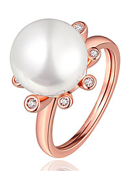 cheap -Ring Pearl Geometrical Rose Gold Gold Plated Flower Fashion 1pc 8 / Women's
