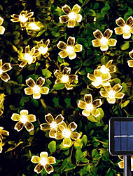cheap -Solar LED String Lights 6.5m 30LEDs Cherry Blossom Outdoor Waterpoof 8 Mode Warm White Colorful White Outdoor Waterproof Fairy Light Christmas Wedding Holiday Decoration Lamp