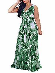 cheap -Women's Swing Dress Maxi long Dress Photo Color Sleeveless Print Summer Boho Loose Boho Bohemia Beach S M L XL XXL