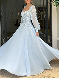 cheap -A-Line Elegant Floral Engagement Prom Dress Scoop Neck Long Sleeve Floor Length Chiffon with Appliques 2021
