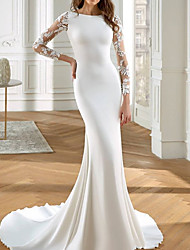 cheap -Mermaid / Trumpet Wedding Dresses Jewel Neck Court Train Lace Italy Satin Long Sleeve Romantic with Appliques 2021