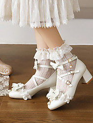 cheap -Women's Lolita Shoes Chunky Heel Round Toe Microfiber Bowknot Imitation Pearl Buckle Solid Colored White Black Pink