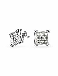 cheap -Mens Womens Square Shaped Cubic Zirconia Micro Pave CZ Kite Stud Earrings For Men Women Silver 7MM