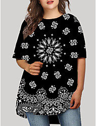 cheap -Women's Plus Size Graphic Geometric Print Casual Half Sleeve Fall Short Mini Dress T Shirt Dress Tee Dress Black Red