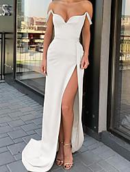 cheap -Sheath / Column Minimalist Sexy Engagement Formal Evening Dress Sweetheart Neckline Sleeveless Sweep / Brush Train Satin with Split 2021