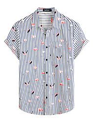 cheap -Men's Shirt Floral Short Sleeve Daily Tops 100% Cotton Basic Boho Navy Blue